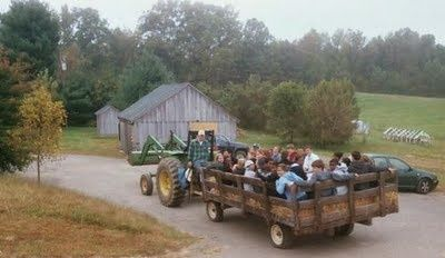 A hay ride is a fun activity at a farm themed birthday party for young and old alike.  See more John Deere birthday party ideas at www.one-stop-party-ideas.com