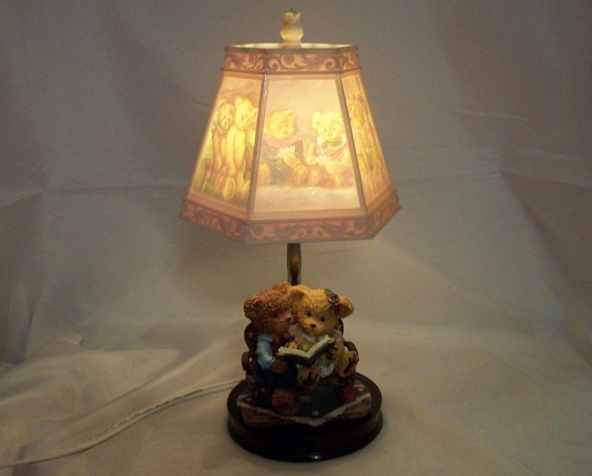 Teddy Bear Lamp W Bear Scene Shade Nursery Or Desk Nightlight