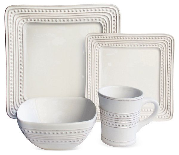 16-Pc Bianca Dots Square Dinnerware Set | The Daily Dish | One Kings Lane