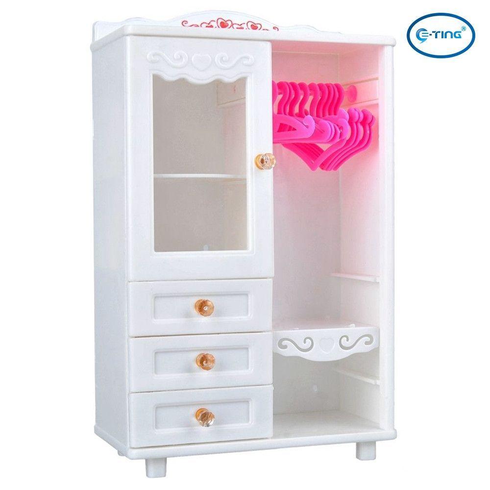 Plastic Furniture Wardrobe DollHouse Accessories Wardrobe For Barbie Doll Pink