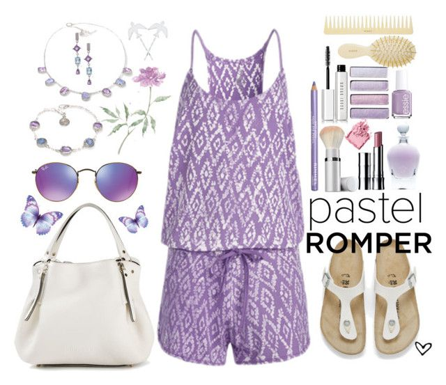 """~Tasc Performance~ Festival Romper ~ Lilac Ikat Batik ~"" by justwanderingon ❤ liked on Polyvore featuring Tasc Performance, Birkenstock, Burberry, Ray-Ban, Poppy Jewellery, Manja, Essie, Rimmel, EB Florals and AERIN"