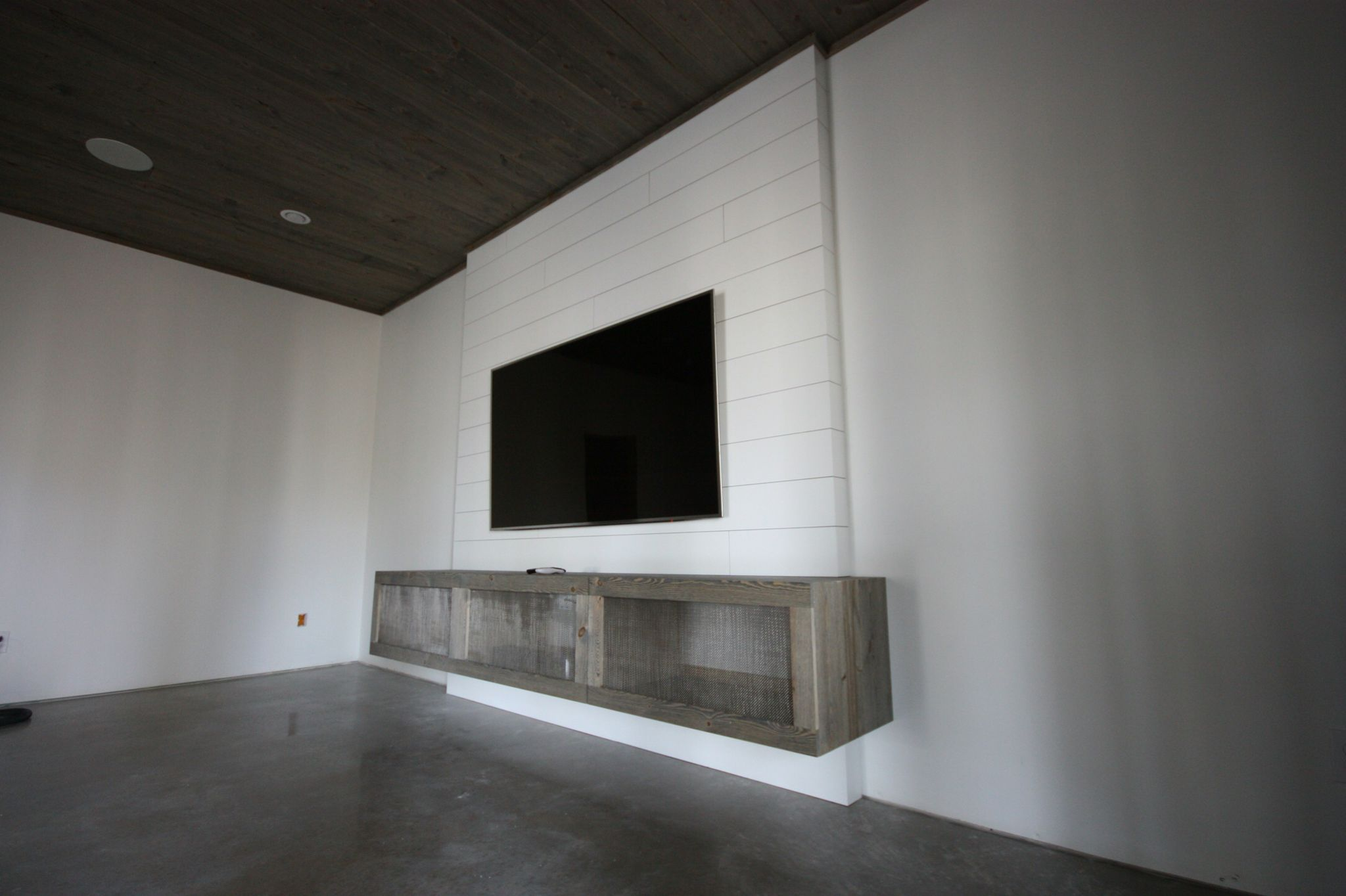 Shiplap tv wall with floating media stand my creations for How to build floating walls in basement