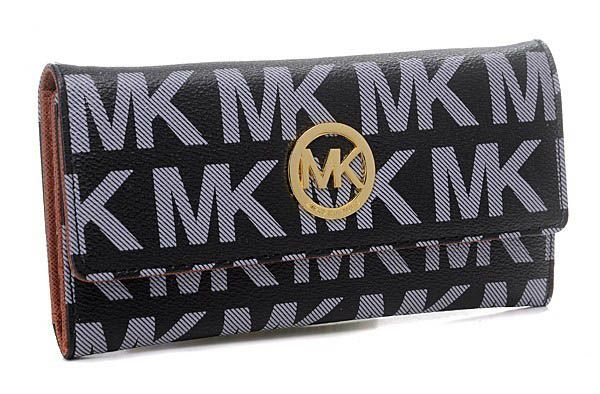 Michael Kros Monogram Circle Logo Purses Black/Grey