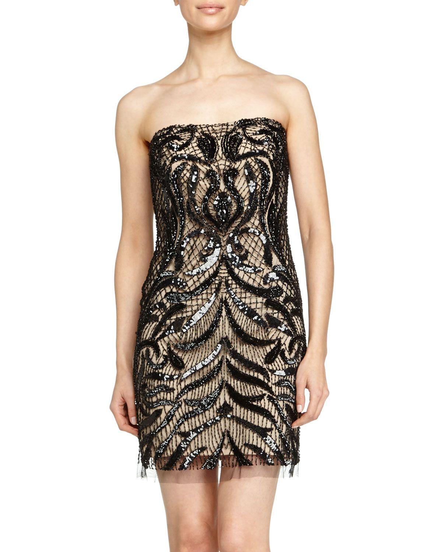 Basix Black Label Strapless Beaded Cocktail Dress, Nude/Black, 0