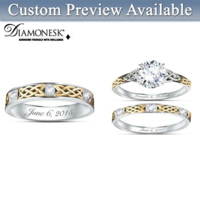 Irish Trinity Knot His Hers Personalized Wedding Ring Set
