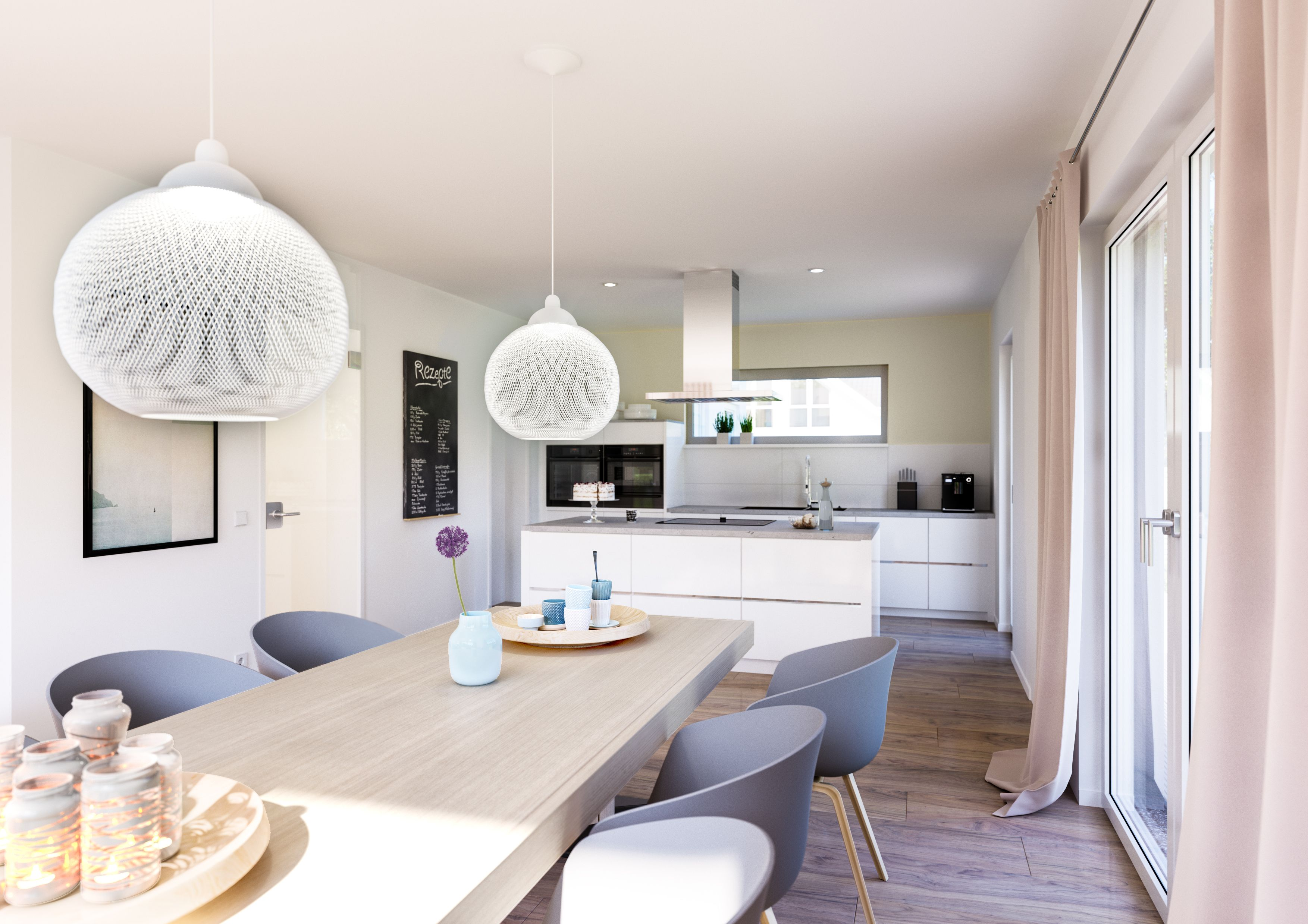 Familienhaus Vero Satteldach Mit Flacher Dachneigung Haus Deko Haus Kuchen Wohn Esszimmer