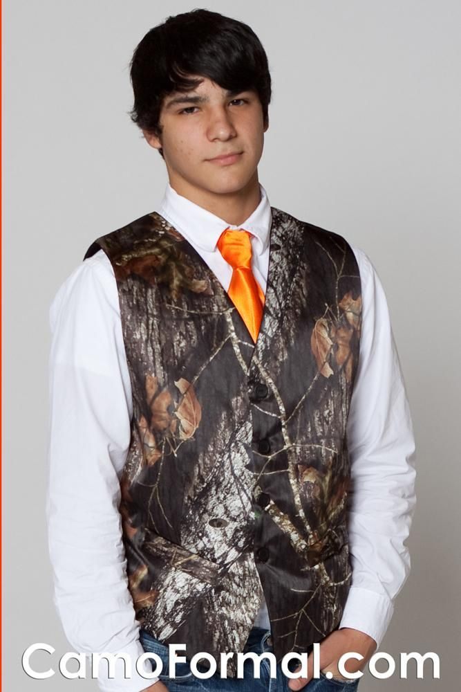 Same For The Boys Best Man Gets The Camo Vest And Other Groomsmen Get Black Or Orange Camo Wedding Camo Wedding Dresses Camouflage Wedding