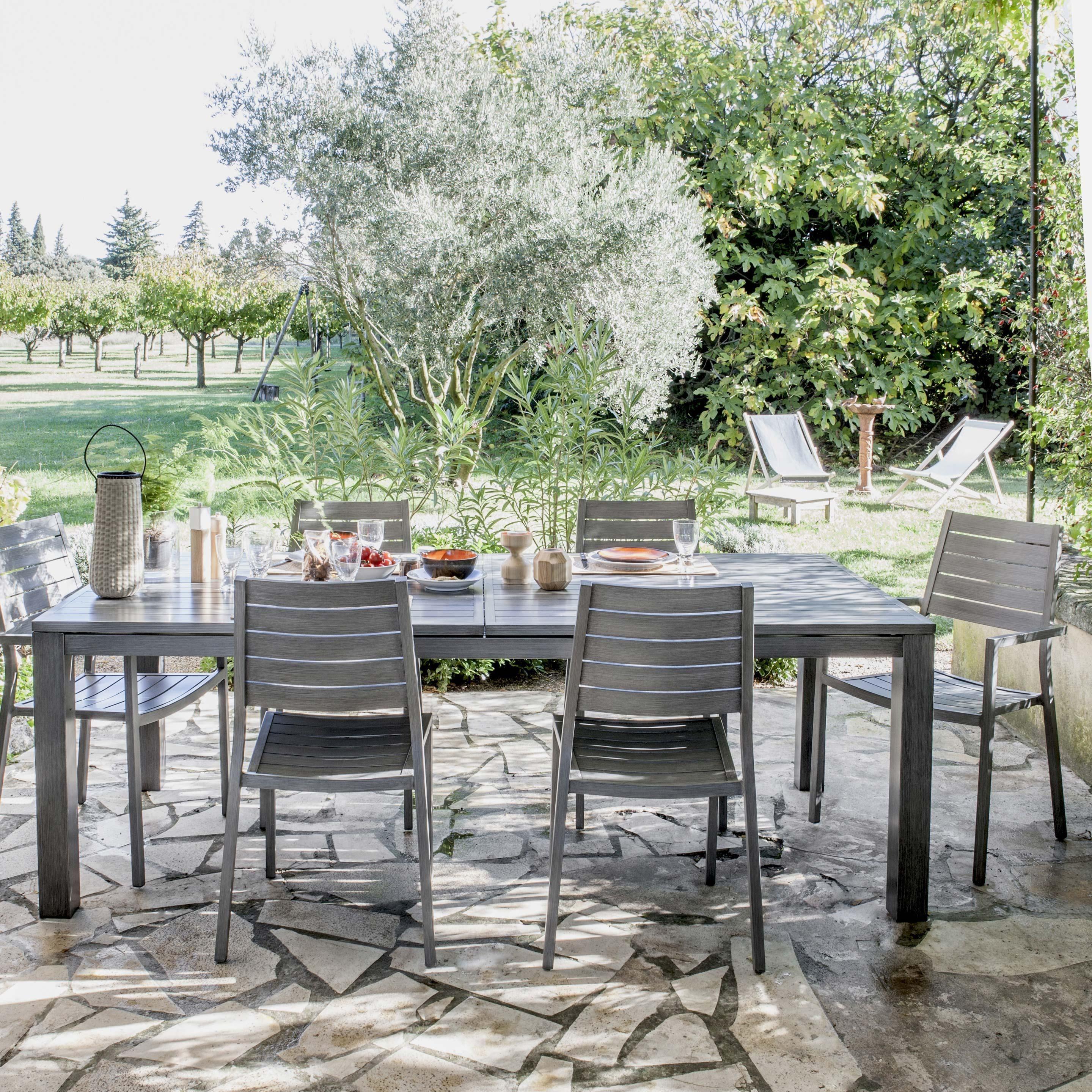 Salon de jardin Antibes NATERIAL gris, 6 personnes ...