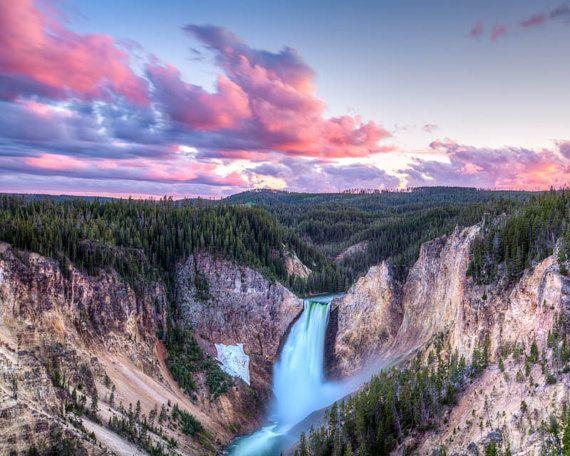 Sunset Lower Falls Grand Canyon Of Yellowstone