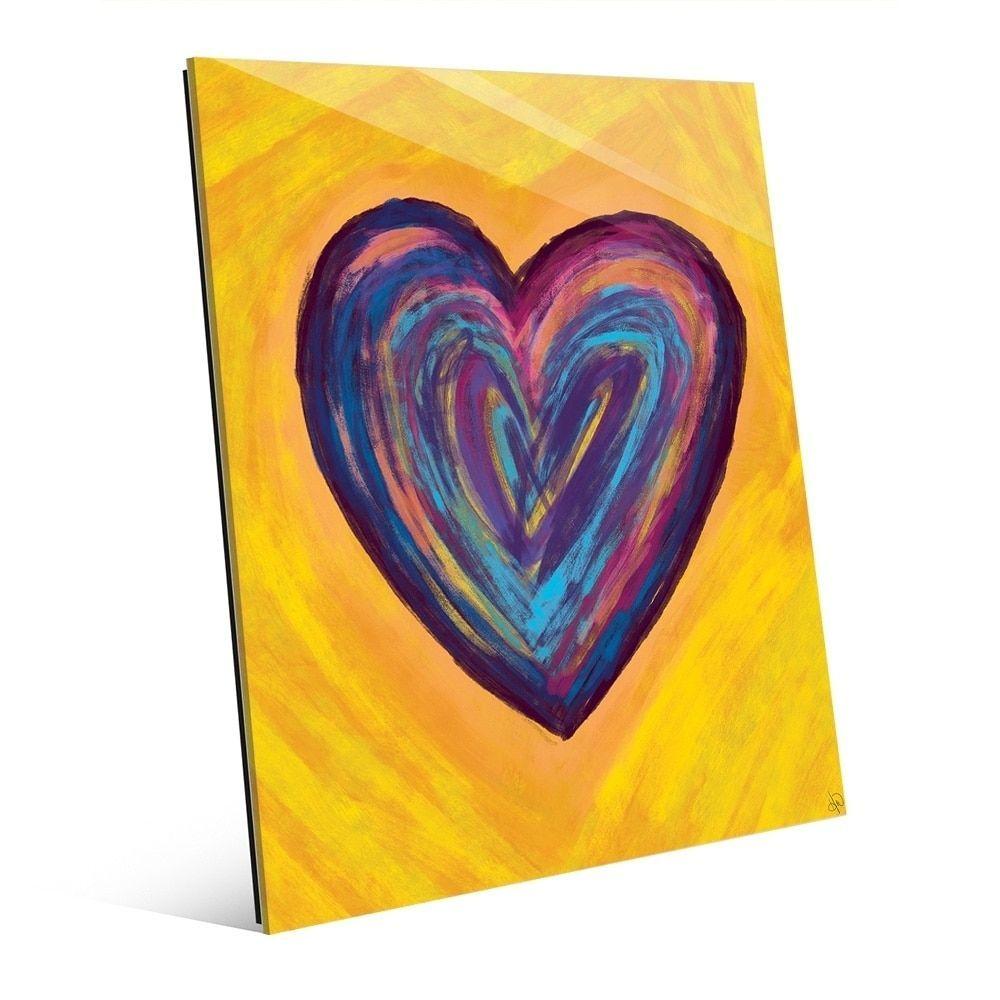 Horizon Heart Strata On Yellow Wall Art Print On Acrylic Purple