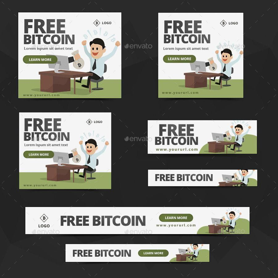 Crypto currency banner set adroll animated banner