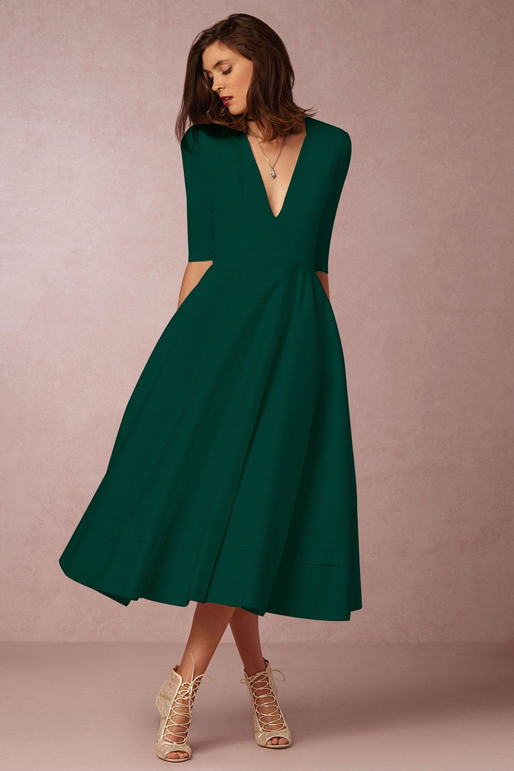 A| Chicloth A-LINE V NECK HALF SLEEVE MIDI PARTY DRESS