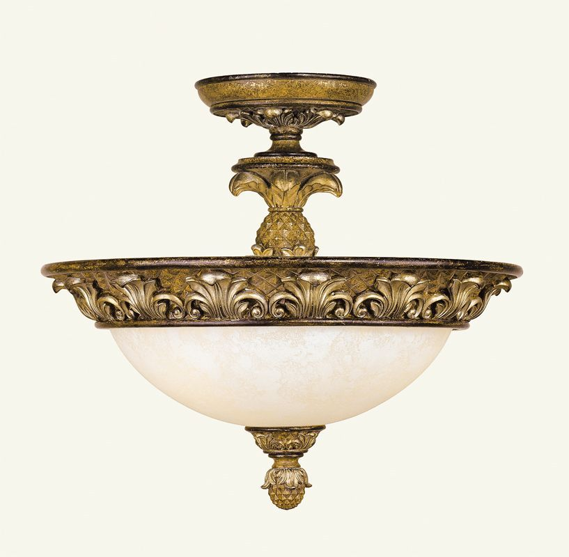 Livex Lighting 8467 Savannah 3 Light Semi-Flush Ceiling Fixture Venetian Patina Indoor Lighting Ceiling Fixtures Semi-Flush