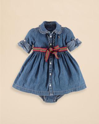 Ralph Lauren Childrenswear Infant Girls Denim Shirt Dress Sizes