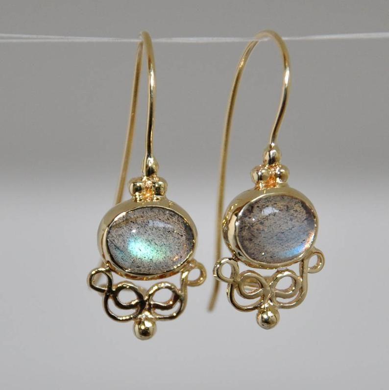 Blue Sapphire Earrings Small Dangle Earrings For Women Israeli Jewelry Gemstone Earrings September Birthstone Silver Stud Earrings