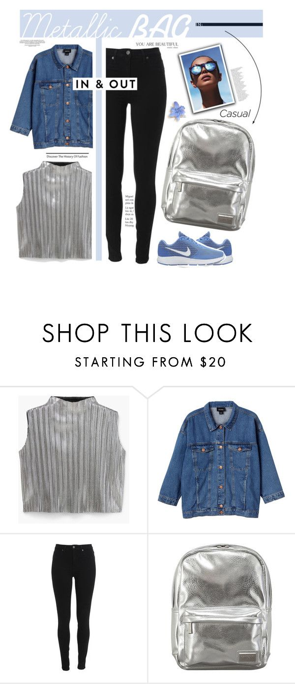 """""""Trending: Metallic Bags"""" by fashionablemy ❤ liked on Polyvore featuring MANGO, Monki, Pantone, NIKE, Le Specs and Anja"""