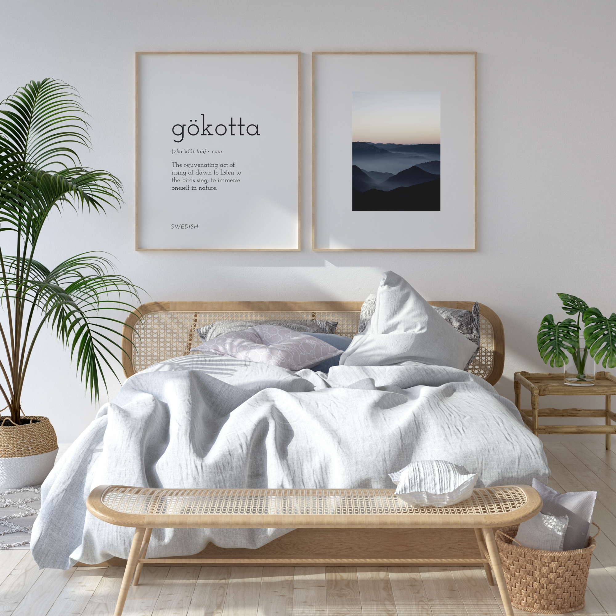 Swedish Morning Prints Set Of 2 Couples Bedroom Art Gokotta Word Phrase Sunrise Mountain Scandinavian Nordic Sky Minimal Wall Decor In 2020 Scandinavian Bedroom Modern Farmhouse Style Bedroom Farmhouse Style Bedroom Decor