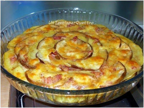melanzane e patate al forno un tavolo per quattro