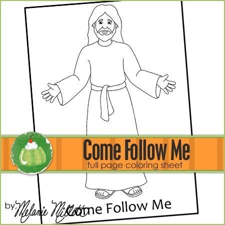Come Follow Me Printable Coloring Page Preschool Bible Activities Coloring Pages Sunday School Crafts