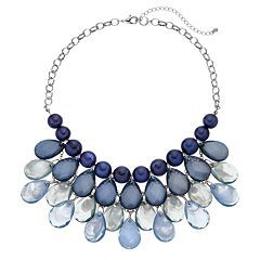 Blue Ombre Beaded Teardrop Necklace