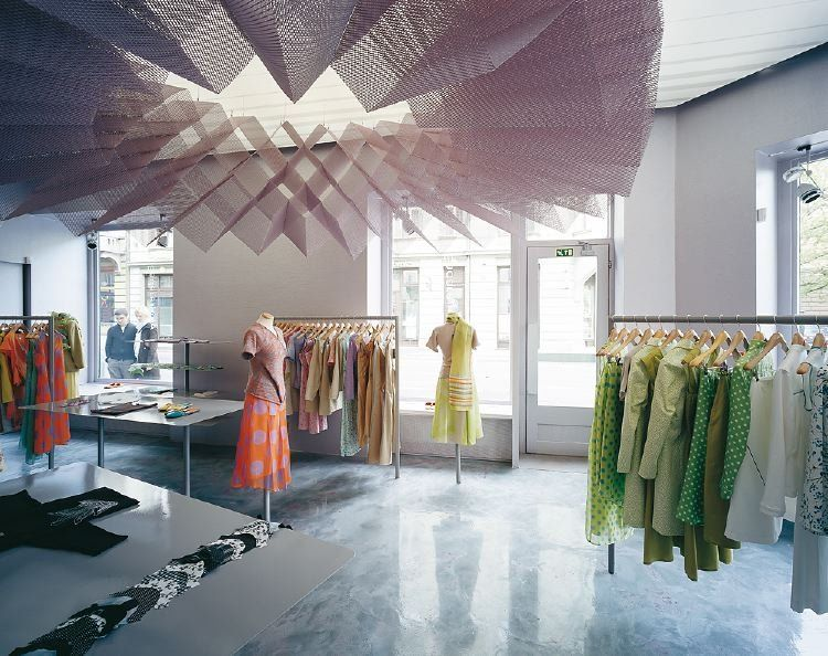 Retail Store Marble Floors Colorful Frocks Floating Ceiling Art