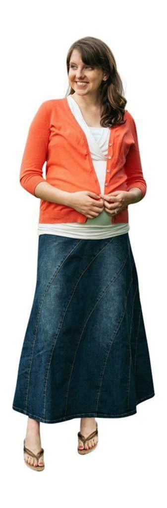 811a7131493 Deborah Denim Rainbow Maternity Skirt in 2018