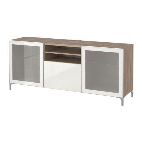 BESTÅ TV unit with drawers - walnut effect light gray/Selsviken high