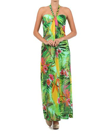 This Green & Pink Hawaiian Sweetheart Halter Maxi Dress is perfect! #zulilyfinds