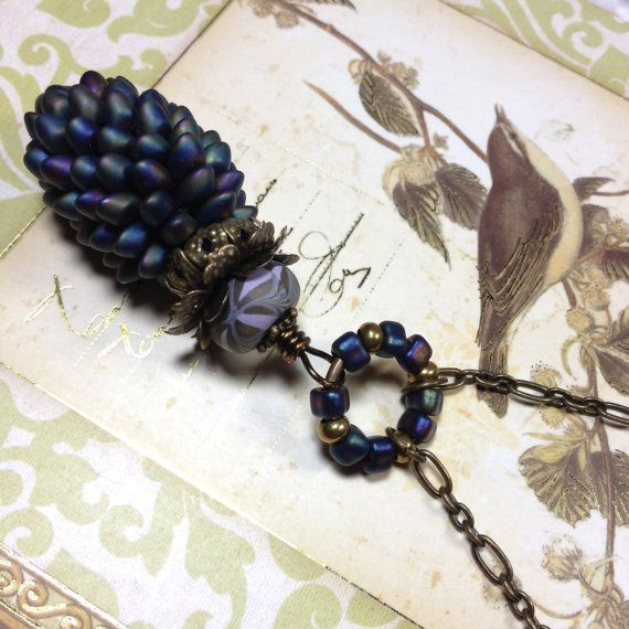Matte Blue Pinecone Pendant Necklace by noeasybeads on Etsy