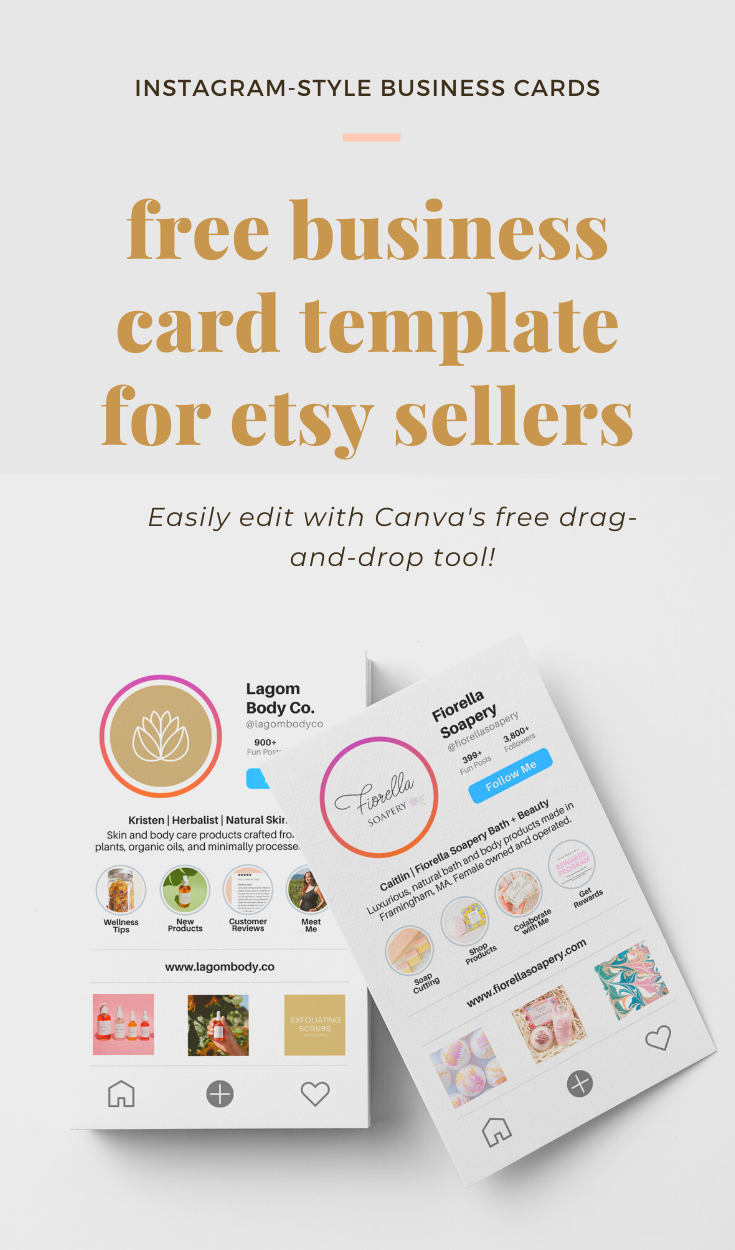 Free Instagram Business Card Templates For Etsy Sellers Instagram Business Business Cards Business Card Inspiration