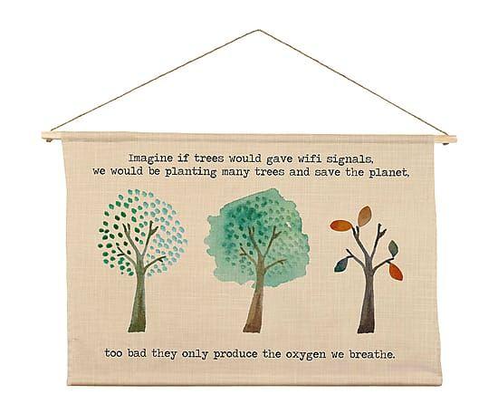 Tapiz de poliéster y madera de pino Trees - 90x60 cm