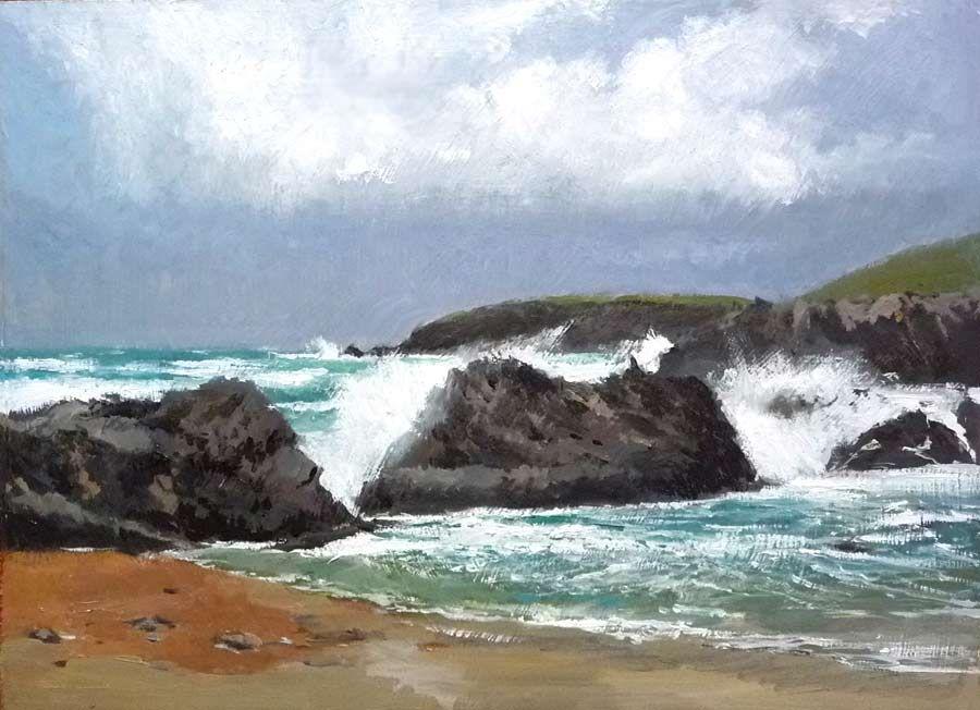 Marina al óleo de Galicia. Se trata de un cuadro de la playa de Valdoviño en La Coruña.