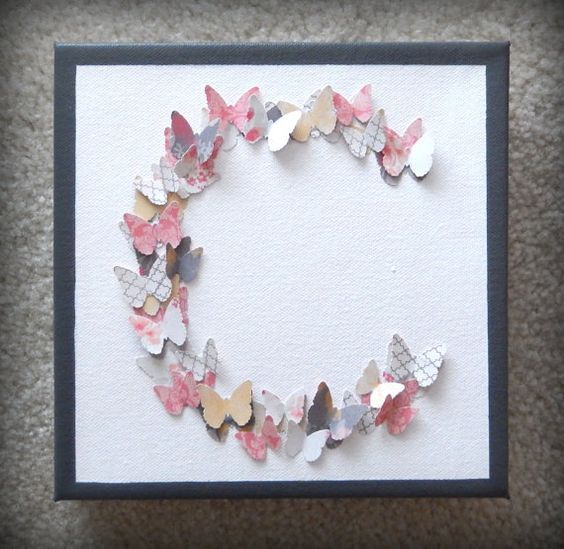 Monogram C Butterflies 3d Canvas Wall Art By Twocraftybirdies 25 00 Butterfly Crafts Diy Paper Butterfly Paper Butterflies