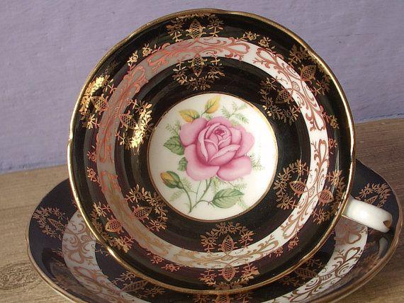 Antique pink rose tea cup, vintage 1950s Royal Grafton English tea cup, black white and gold bone china tea cup via Etsy