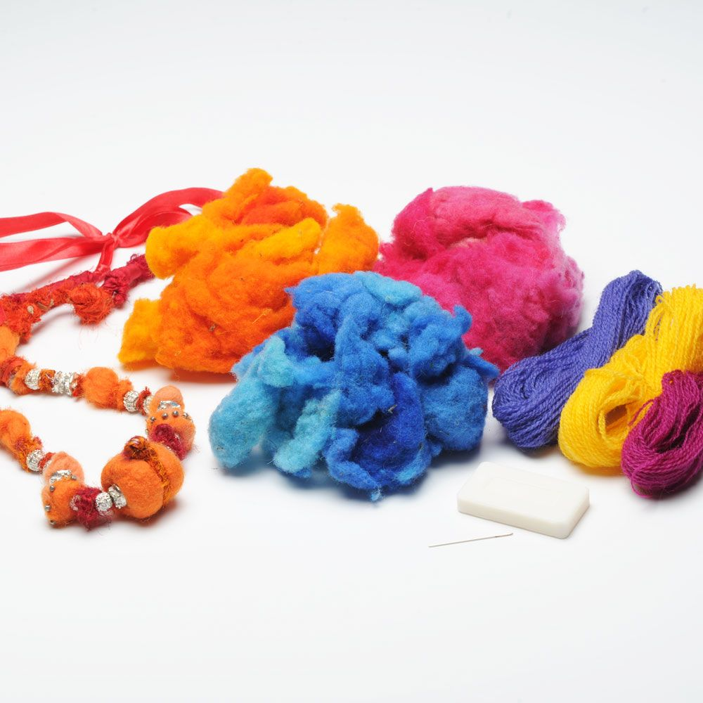 Felted Bead Kit. This wonderful kit contains needle, yarn, soap, noil wool and instructions. In fact everything you need to make an array of assorted coloured beads which can be mixed and matched to create garment embellishments or jewellery. All for £11.94!
