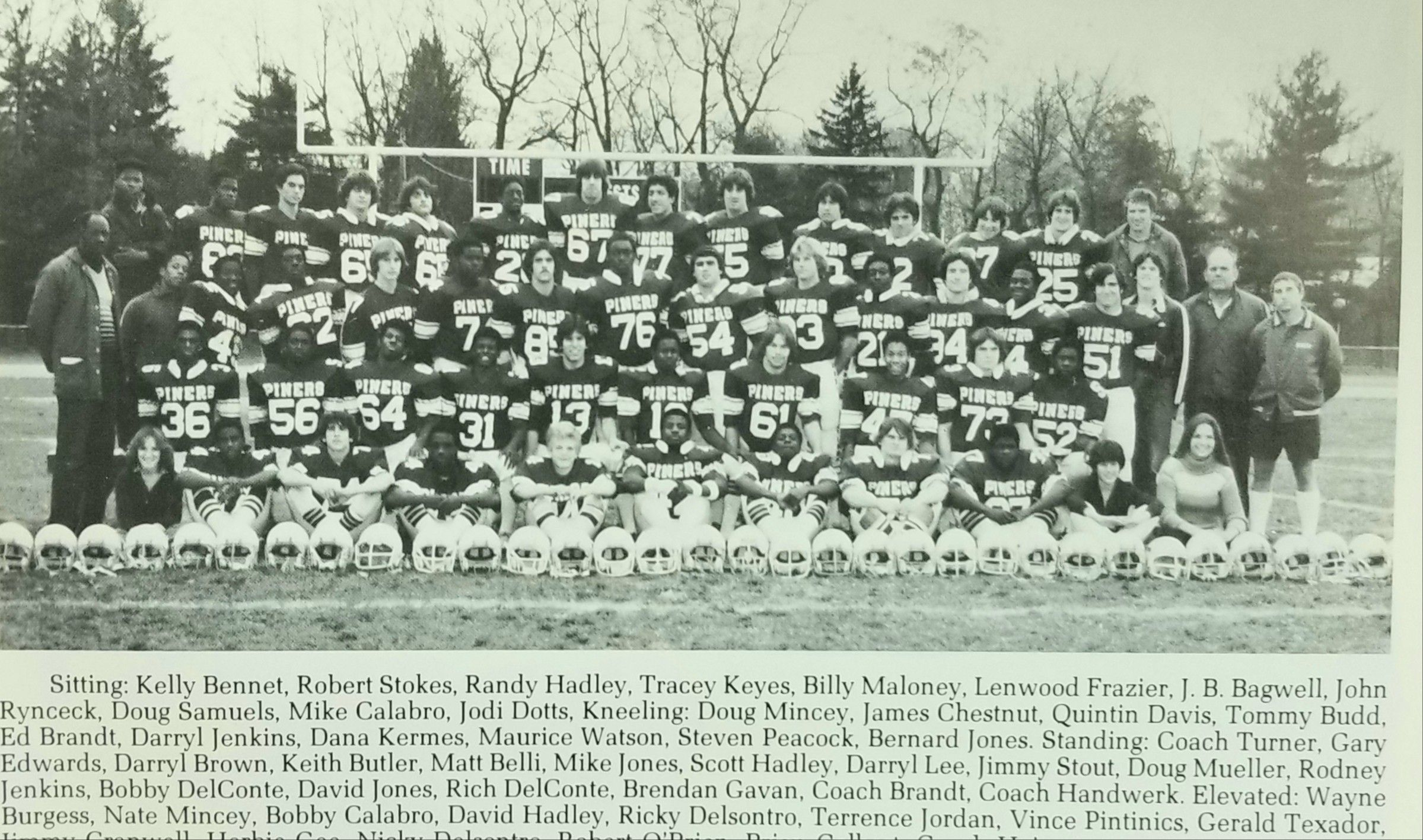 1979 lakewood piners football squad team photo with