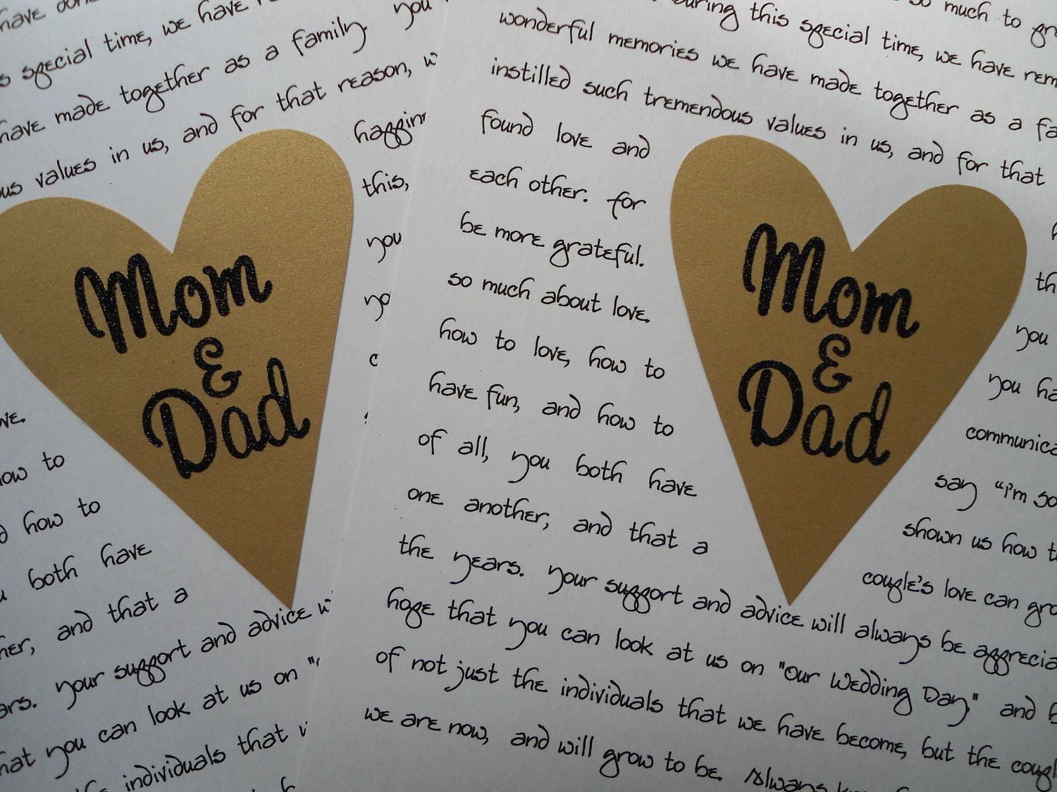 2 Parents Wedding Gifts Mom And Dad Custom Thank You Your Letter