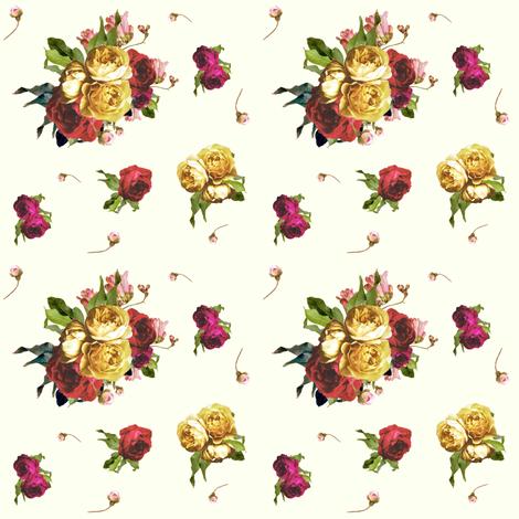 Dark Floral Garden - Ivory - SMALL fabric by shopcabin on Spoonflower - custom fabric