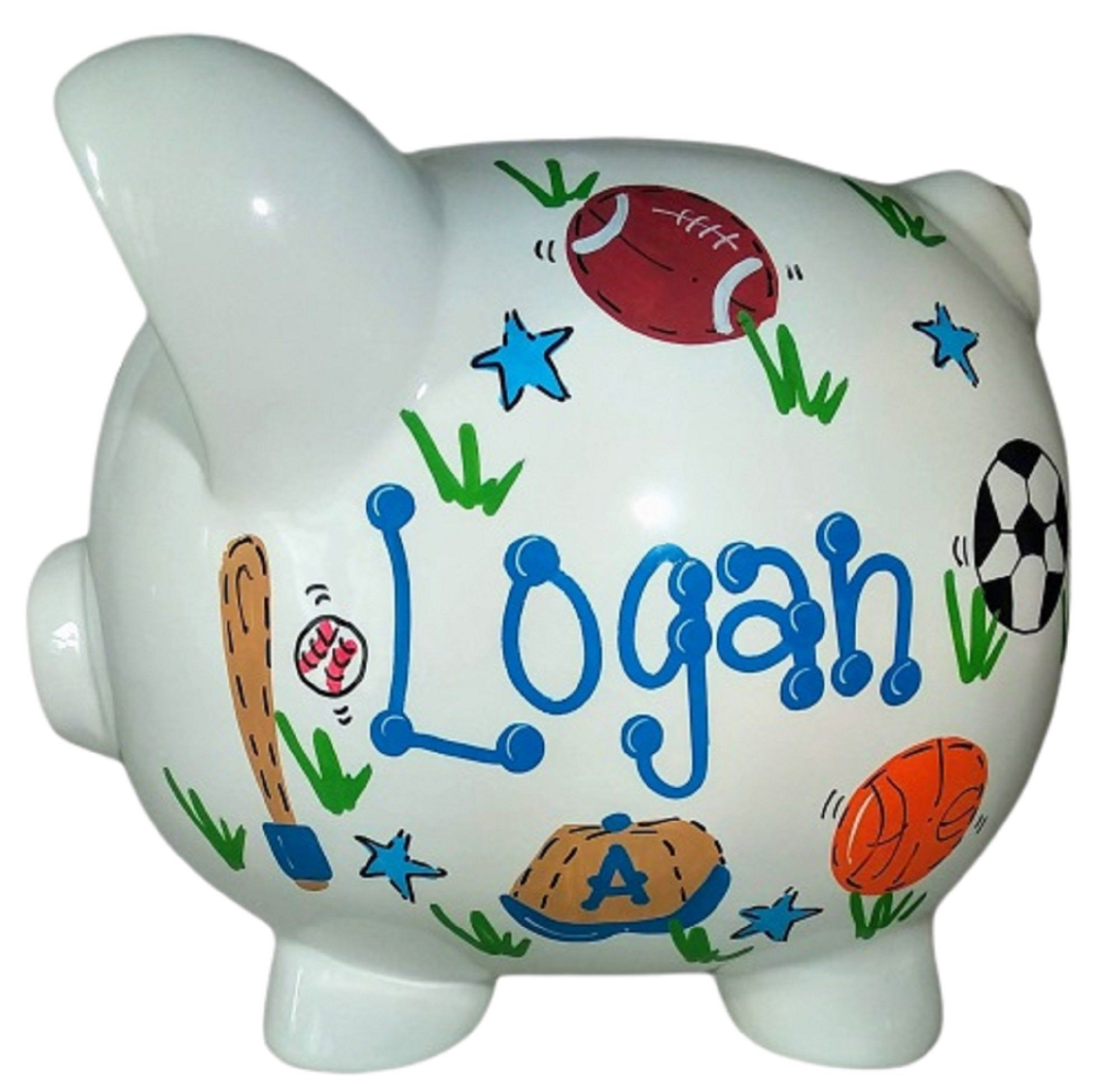 Boy S Piggy Bank Personalized Handpainted Ceramic Custom Banks For Him Nursery Decor Personalized Bab Baby Boy Gifts Simple Gift Wrapping Gifts For Boys