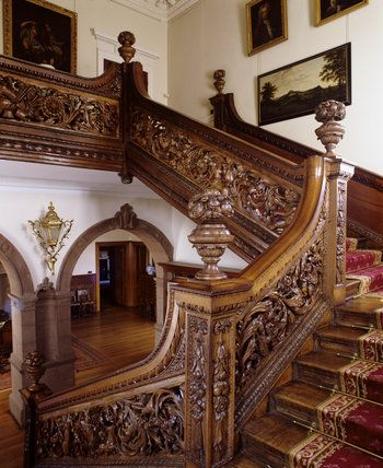 The stair hall oak staircase at dunster castle; installed by ...