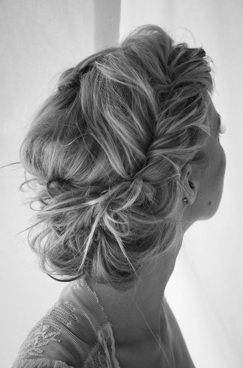 I need to get better at different hair styles - what a gorgeous messy look updo.