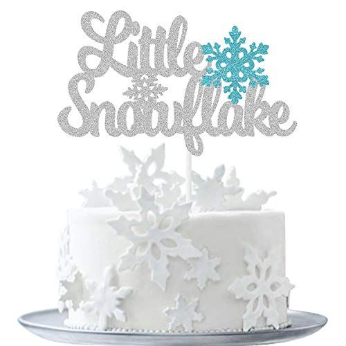MAGBEA Little Snowflake Cake Topper - Winter Frozen Theme Baby Shower Supplies for Girls Boys Decor Birthday Party Winter Wonderland Party (Double-side Silver Glitter)
