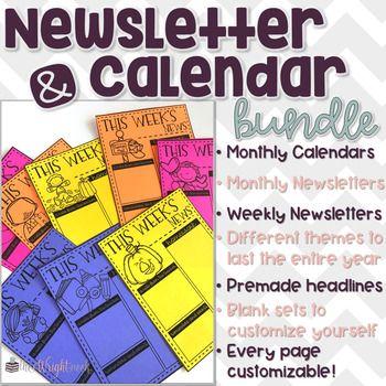 Editable Newsletter and Calendar Templates Kindergarten - calendar templates for kindergarten