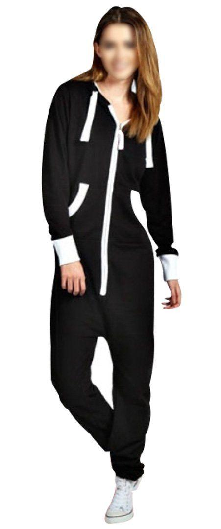 a9ac9c22f0 SkylineWears Women s Ladies Onesie Hoodie Jumpsuit Playsuit Small Black