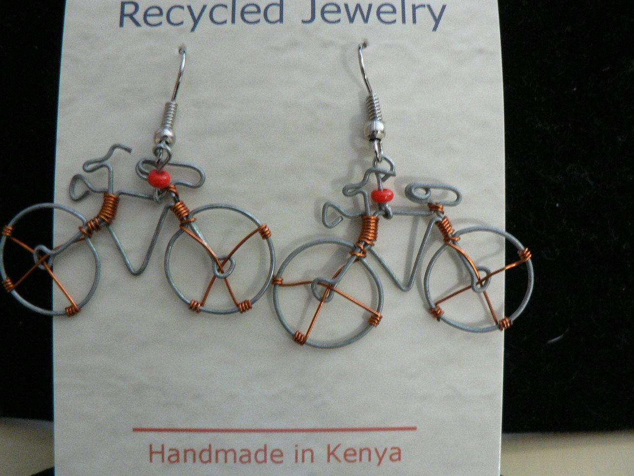 Quirky fair trade made in Kenya wire bicycle earrings - in desertladybug 's Bonanza booth.  Too cute!