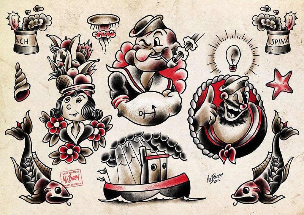 Popeye Tattoo Flash By Mr Bram Popeye Popeye Tattoo Vintage