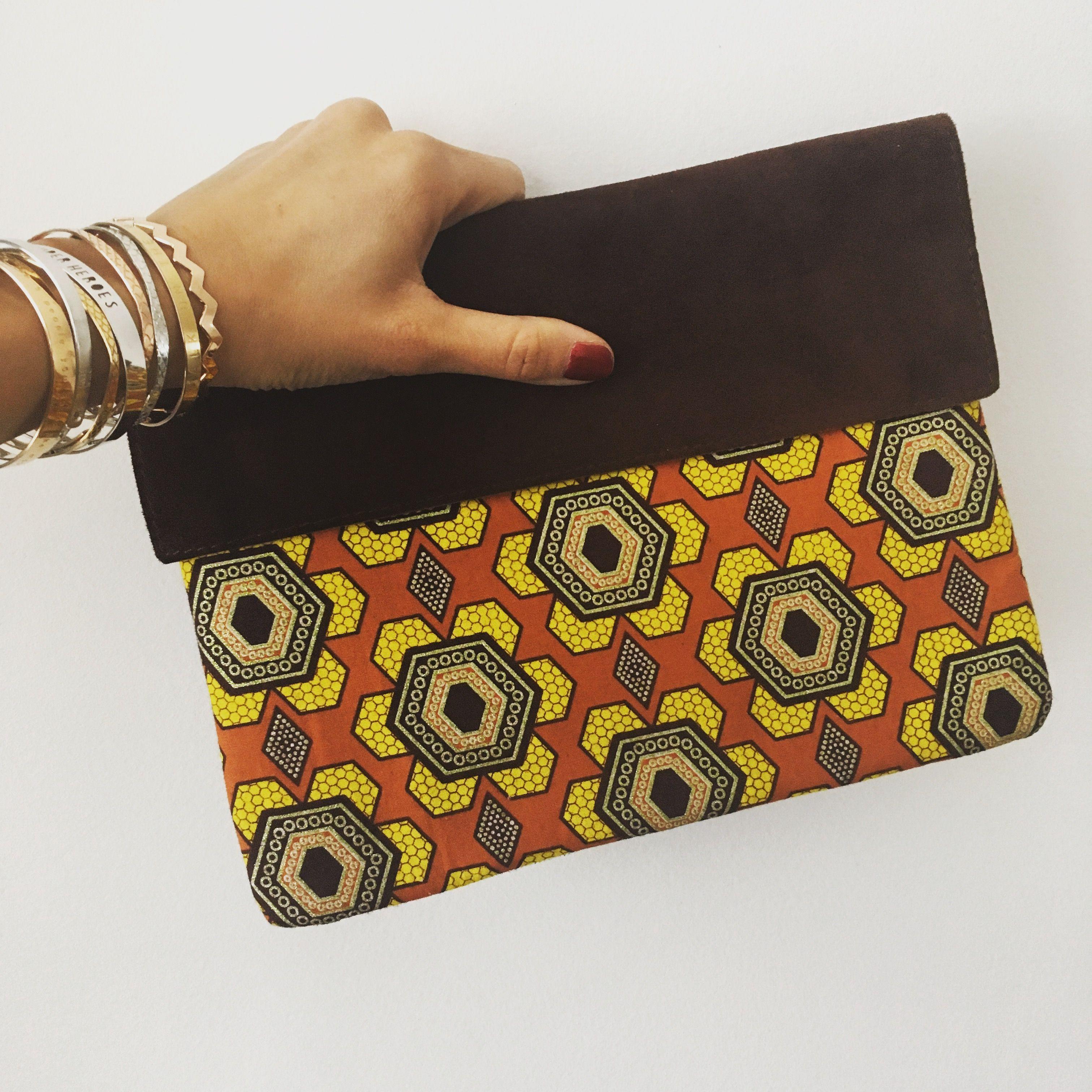 compagnon de sac en simili cuir et tissu africain cadeau femme portefeuille femme noir et wax bamako rouge porte monnaie tout en un style ethnique