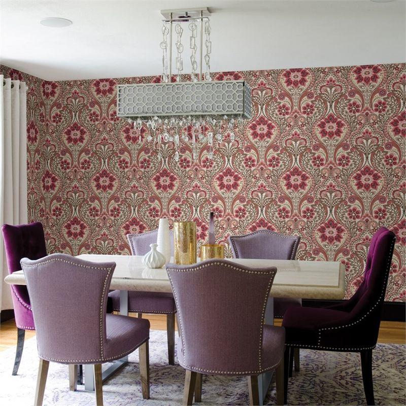 Fine Decor Moonlight Fun Damask Wallpaper Beige Pink
