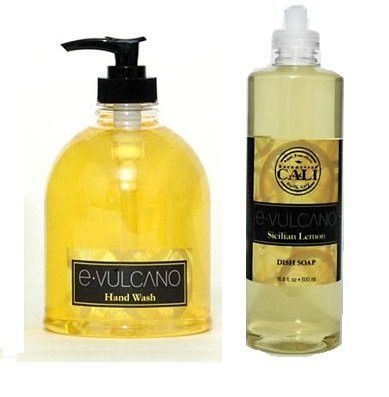 Cali Cosmetics E Vulcano Sicilian Lemons Hand Wash and Dish Soap Combo Pack