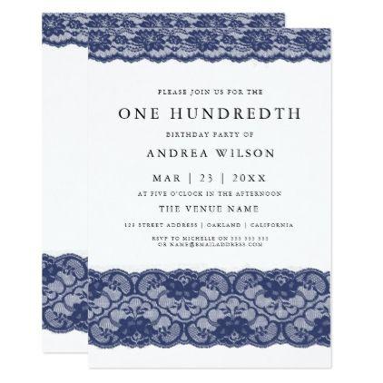 Navy Blue Lace Elegant 100th Birthday Invite